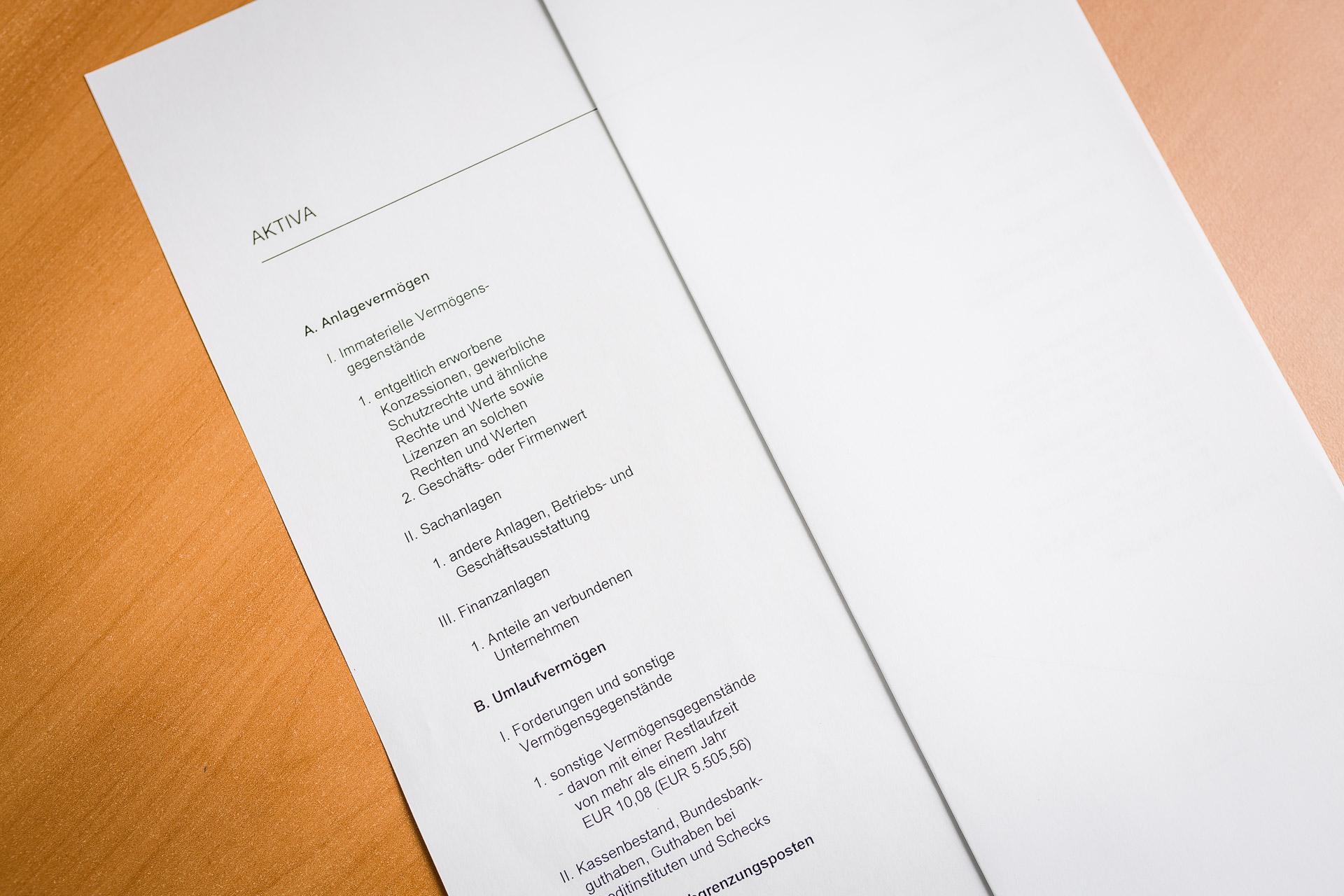 Jahresabschluss erstellt von der Steuerkanzlei Buchholz